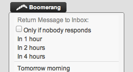 Screenshot of Boomerang Menu in Yahoo Mail