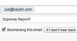 Screenshot of setting a Boomerang reminder while you send email in Yahoo Mail